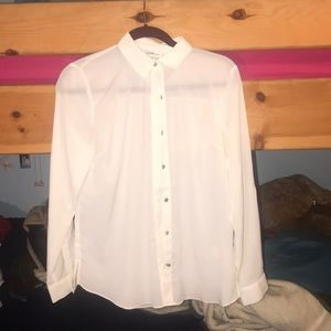 Flirty white sheer blouse
